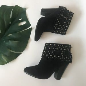 ASH Black Leather Studded Ankle Booties, Size 38
